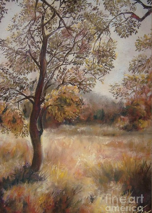 Landscape Greeting Card featuring the painting Early Autumn by Julianna Ziegler