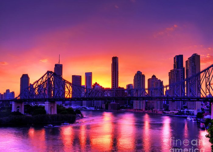 Brisbane Greeting Card featuring the photograph Early Brisbane Sunset With Purple And Yellow Sky by Chris Smith
