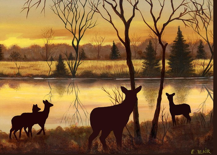 Deer Wildlife Landscape Water Woods Sunrise Greeting Card featuring the painting Early Morning Alert2 by Eileen Blair