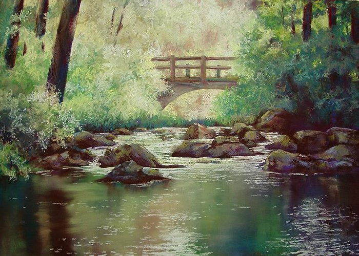 Landscape Greeting Card featuring the pastel Early Morning at Gulpha Gorge by Marlene Gremillion