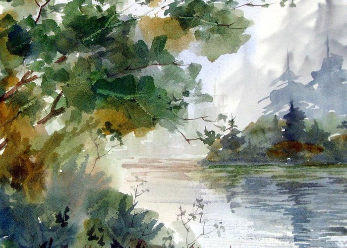 Watercolor Greeting Card featuring the painting Early Morning by Chito Gonzaga