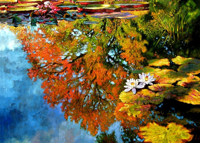 Landscape Greeting Card featuring the painting Early Morning Fall Colors by John Lautermilch