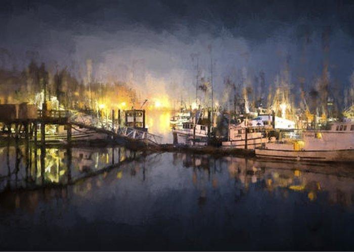 Boats In Harbor Digital Art Greeting Cards