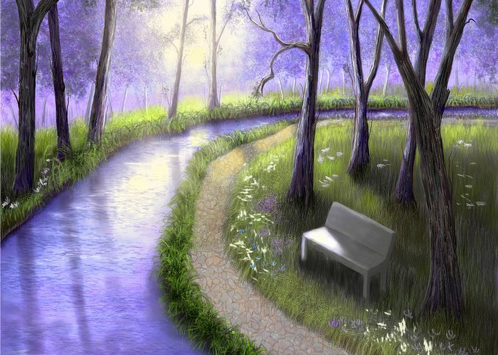 Park Greeting Card featuring the painting Early Morning In The Park by Sena Wilson