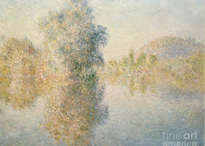 Impressionism; Impressionist; Landscape; River; Tree; Reflection; Water; French Greeting Card featuring the painting Early Morning On The Seine At Giverny by Claude Monet