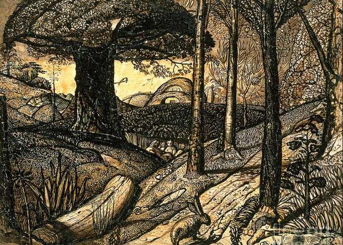 Early Greeting Card featuring the drawing Early Morning by Samuel Palmer
