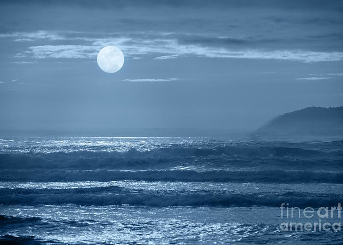 Moon Greeting Card featuring the photograph Early Morning Splendor by Sandra Bronstein