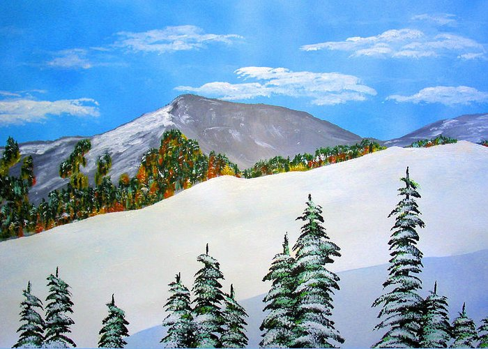 Snow Sierra Mountains Ridgeline Early Trees Fall Nature Greeting Card featuring the painting Early Sierra Snow At Ridgeline by Ed Moore