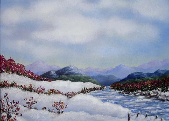 Winter Greeting Card featuring the painting Early Snow by Anh T Chau