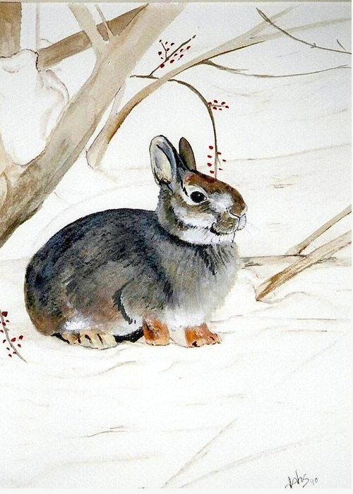 Rabbit Greeting Card featuring the painting Early Snow by Debra Sandstrom