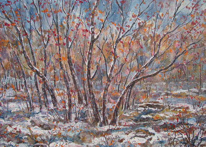 Landscape Greeting Card featuring the painting Early Snow. by Leonard Holland