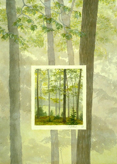 Trees Greeting Card featuring the painting Early Spring by Nancy Ethiel