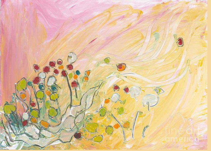 Landscape Greeting Card featuring the painting Early Summer Winds by Christine Alfery
