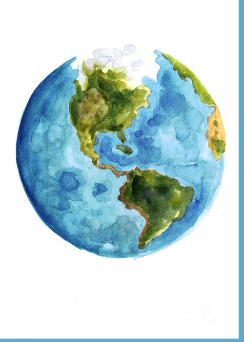 Earth America Watercolor Poster Greeting Card For Sale By