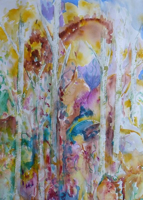 Vibrant Abstract Greeting Card featuring the painting Earth Changes and so do I by Phoenix Simpson