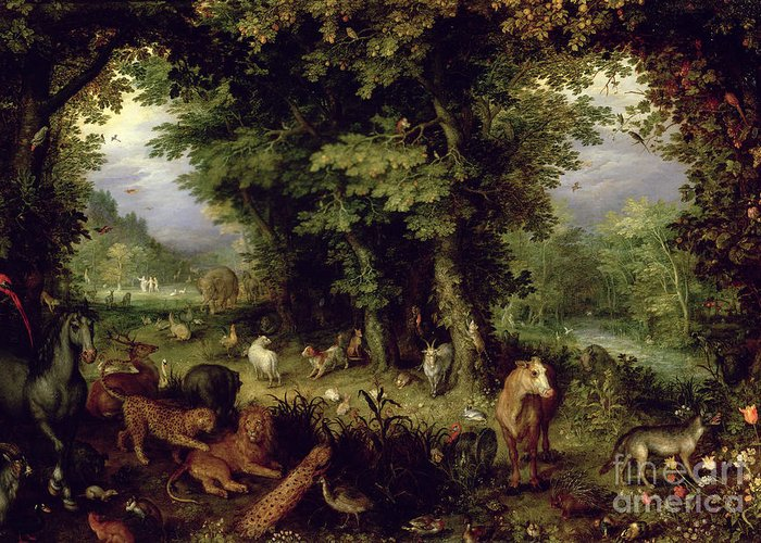 Animal; Animals Greeting Card featuring the painting Earth Or The Earthly Paradise by Jan the Elder Brueghel