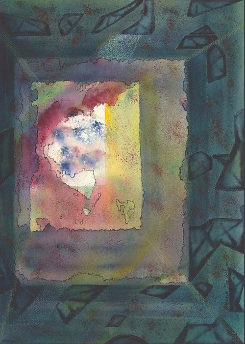 Abstract Greeting Card featuring the painting Earth Passing By My Window by Beena Samuel