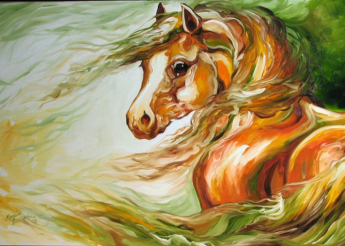 Horse Greeting Card featuring the painting Earth Wind And Fire 2  Sold by Marcia Baldwin