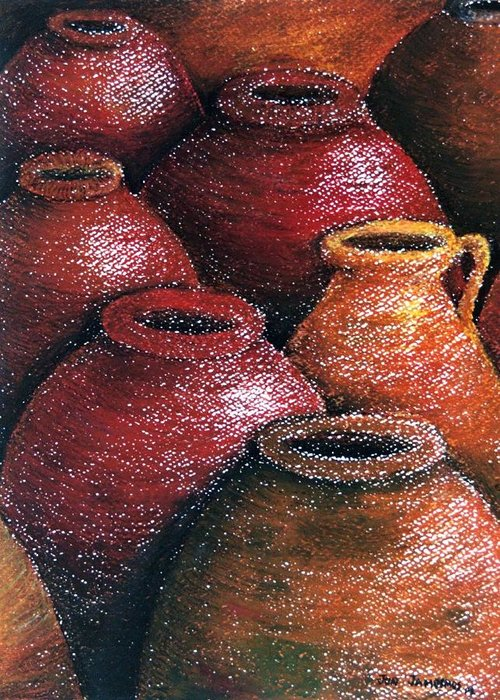 Earthen Greeting Card featuring the painting Earthen Vessels Iv by Jun Jamosmos