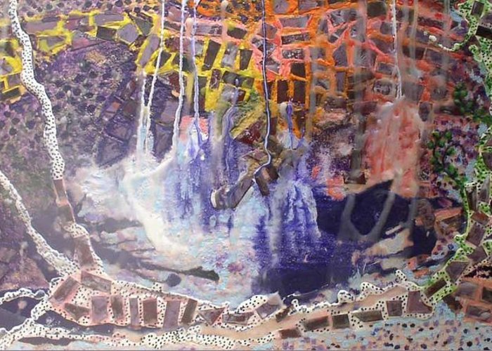 Abstract Encaustic Greeting Card featuring the painting Earthquake by Heather Hennick