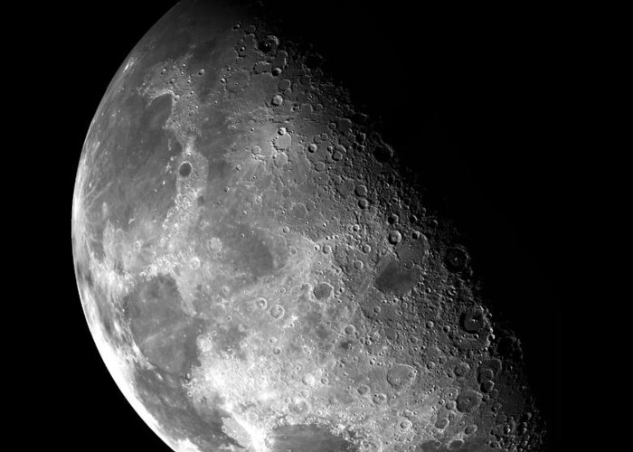 Nebula Greeting Card featuring the photograph Earth's Moon In Black And White by Jennifer Rondinelli Reilly - Fine Art Photography