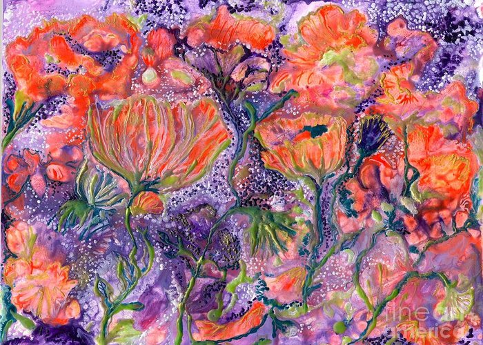 Healing Greeting Card featuring the painting Ease For De De by Heather Hennick