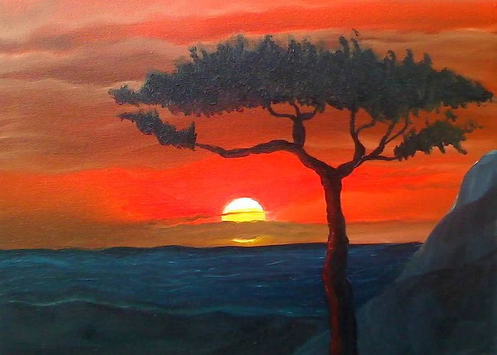 Africa! Greeting Card featuring the painting East African Sunset by Portland Art Creations