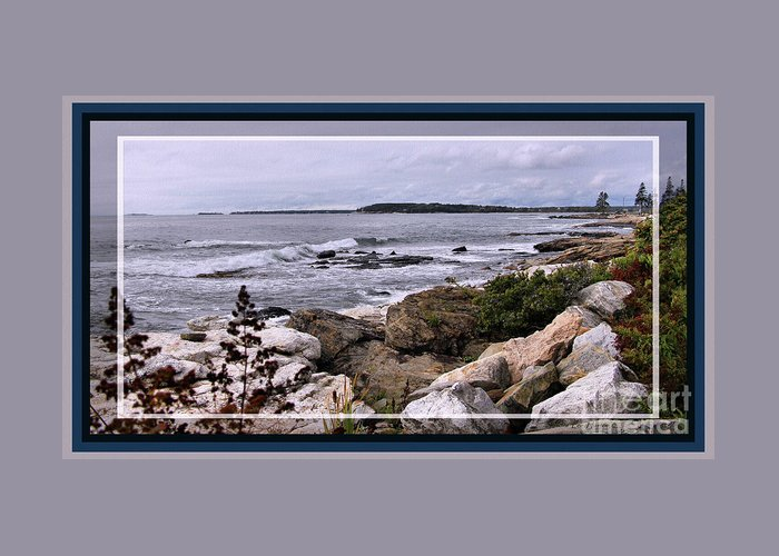 Photograph Greeting Card featuring the photograph East Boothbay, Maine Ocean View, Framed by Sandra Huston