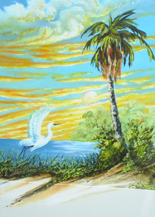 Landscape Greeting Card featuring the painting East Lake by Dennis Vebert