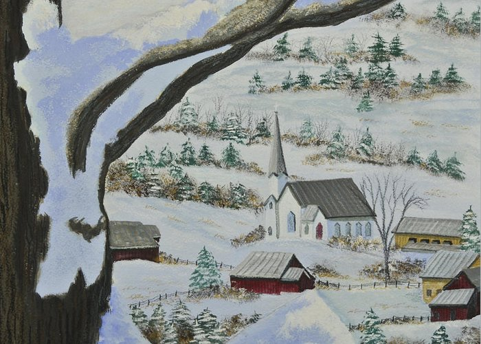 Winter Scene Paintings Greeting Card featuring the painting East Orange Vermont by Charlotte Blanchard