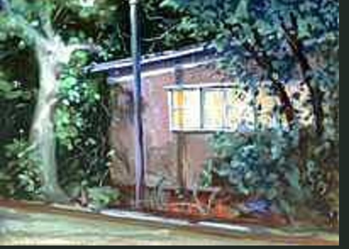 Night Greeting Card featuring the painting East Side of Studio 38 by Ed Slack
