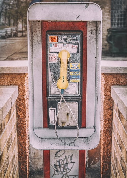 Pay Phone Greeting Card featuring the photograph East Side Pay Phone by Scott Norris