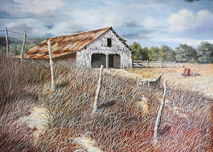 Bob Hallmark Greeting Card featuring the painting East Texas Barn by Bob Hallmark