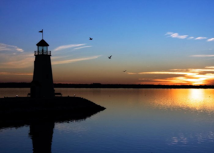 east Warf Lighthouse Greeting Card featuring the photograph East Warf Sunset by Lana Trussell