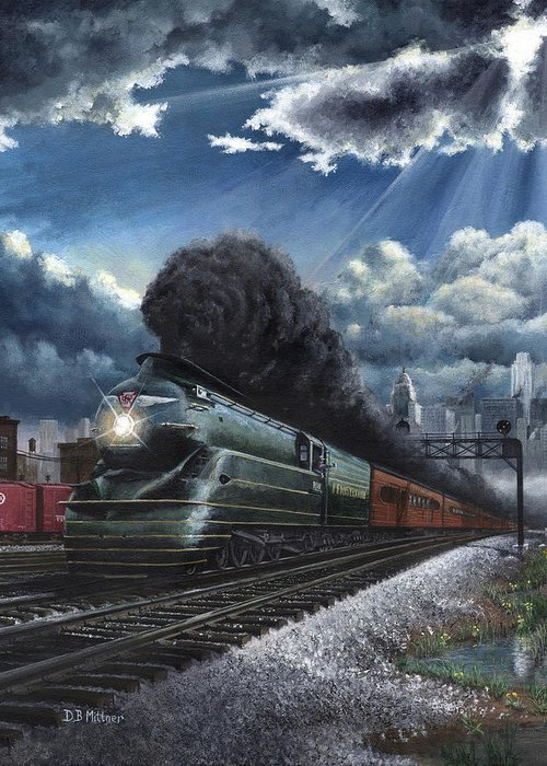 Train Greeting Card featuring the painting Eastbound Broadway Limited by David Mittner