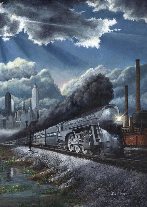 Train Greeting Card featuring the painting Eastbound Twentieth Century Limited by David Mittner