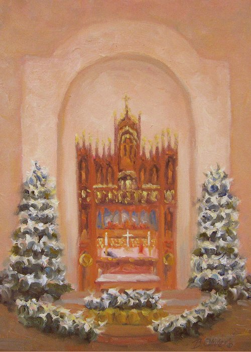 Church Greeting Card featuring the painting Easter At St. Martins by Bunny Oliver
