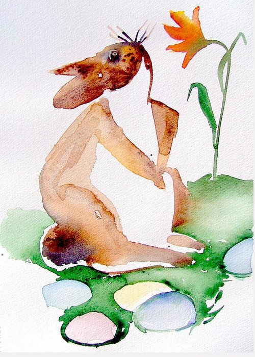 Bunny Greeting Card featuring the painting Easter Bunny by Mindy Newman