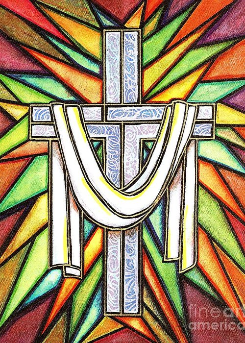 Cross Greeting Card featuring the painting Easter Cross 5 by Jim Harris