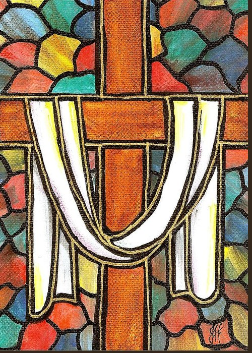 Easter Greeting Card featuring the painting Easter Cross 6 by Jim Harris