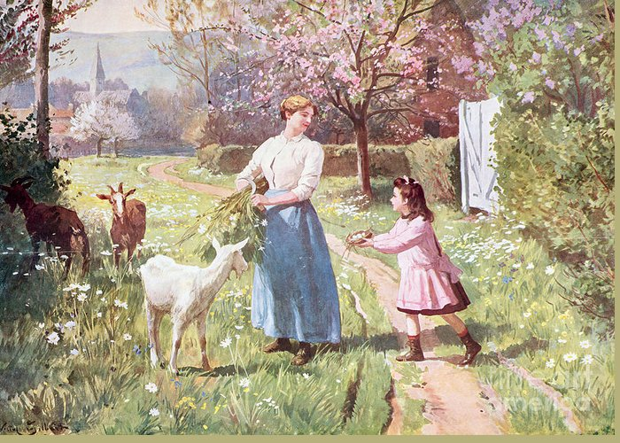 Easter Greeting Card featuring the painting Easter Eggs In The Country by Victor Gabriel Gilbert