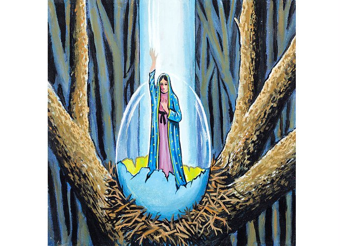 Guadalupe Greeting Card featuring the painting Easter Emergence by James RODERICK