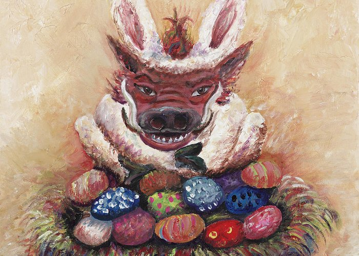 Easter Greeting Card featuring the painting Easter Hog by Nadine Rippelmeyer