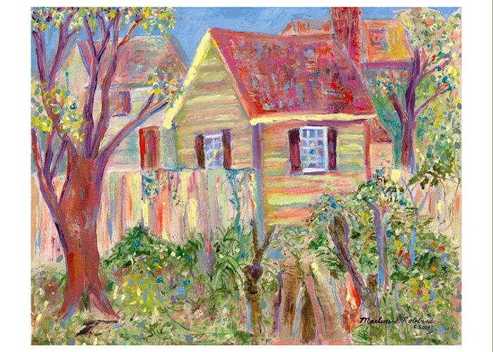 Houses Greeting Card featuring the painting Easter House by Marlene Robbins
