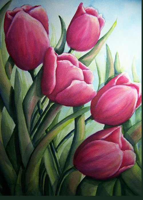 Easter Greeting Card featuring the painting Easter Tulips by Conni Reinecke