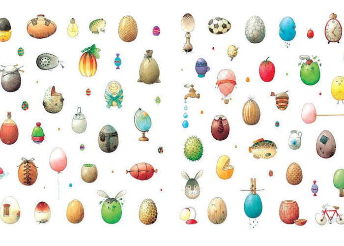 Eggs Easter Greeting Card featuring the painting Eastereggs by Kestutis Kasparavicius