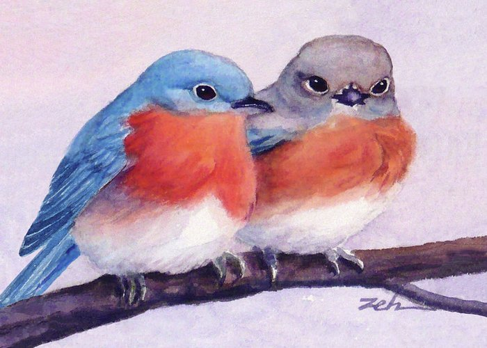 Birds Greeting Card featuring the painting Eastern Bluebirds by Janet Zeh
