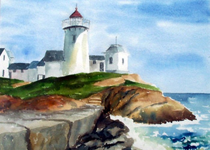 Landscape Greeting Card featuring the print Eastern Point Light by Anne Trotter Hodge