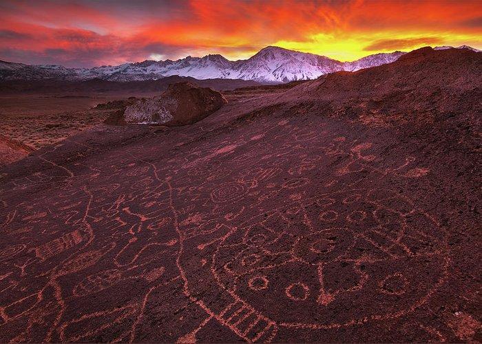 Eastern Sierra Greeting Card featuring the photograph Eastern Sierra Petrolpyh Sunset by Nolan Nitschke