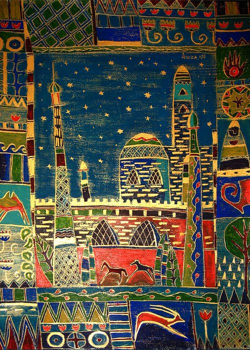 Night Greeting Card featuring the painting Eastern Stars by Aliza Souleyeva-Alexander